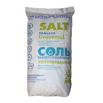 Соль таблетированная Универсальная в мешки по 25 кг 500₽ Мозырьсоль РБ