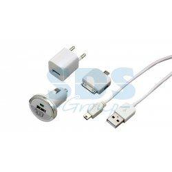 USB-переходники Комплект СЗУ, АЗУ кабель mini USB, переходник micro USB, 30 pin, белый Крепика дом крепежных материалов